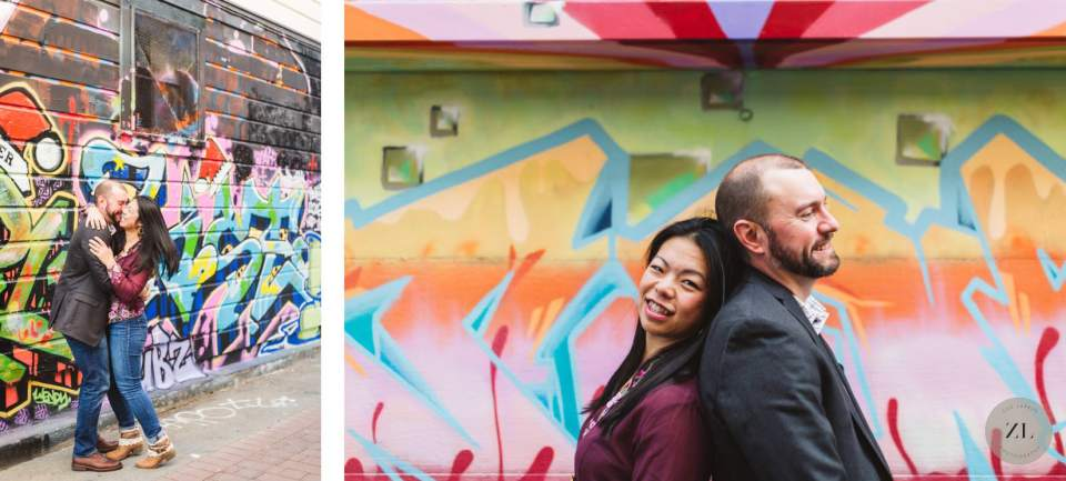 Lilac Alley Murals engagement photography with colorful murals in Mission District