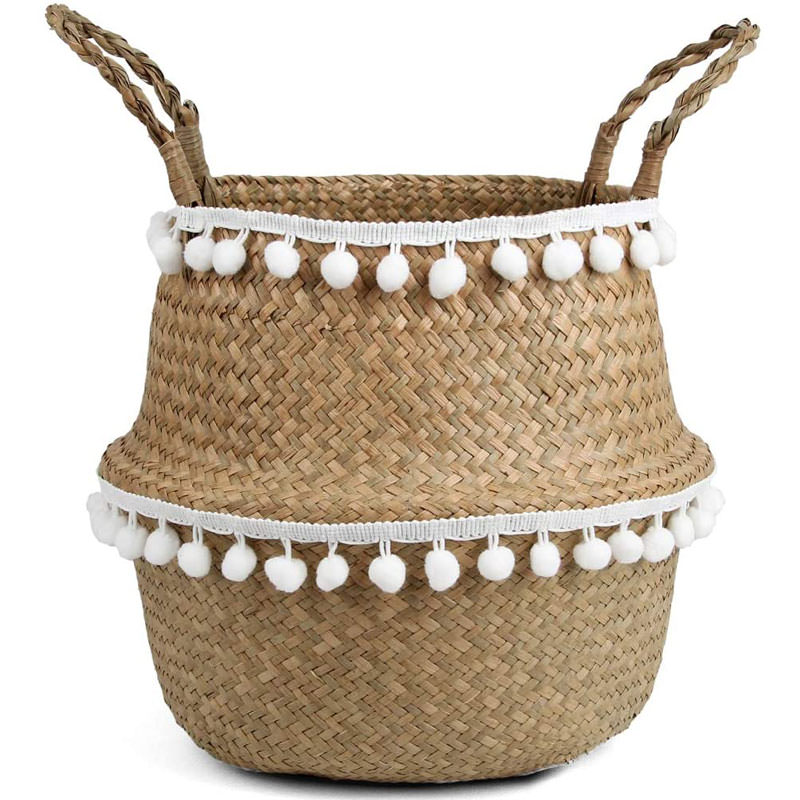 Macrame Woven Seagrass Belly Basket
