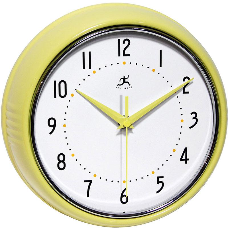 Metal Wall Clock Yellow