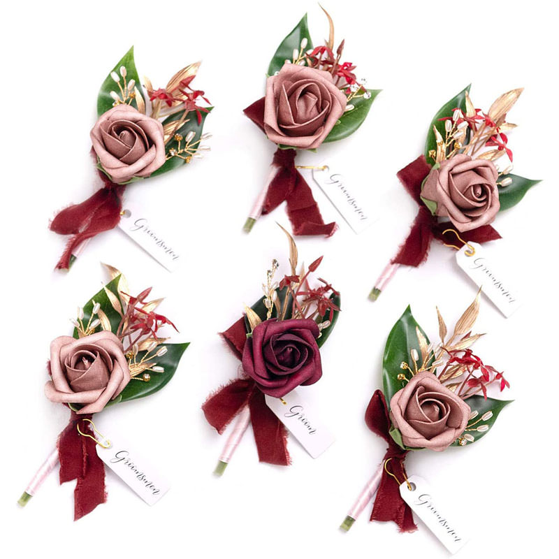 Artificial boutonnieres set of 6