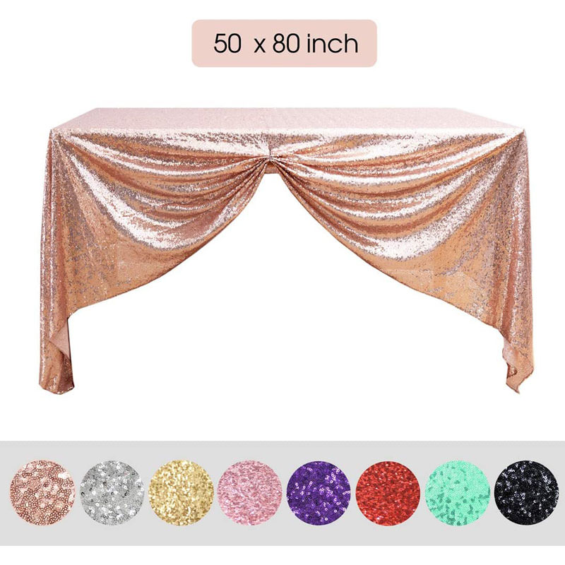 Sequin Tablecloth 50 X 80 inch rose gold