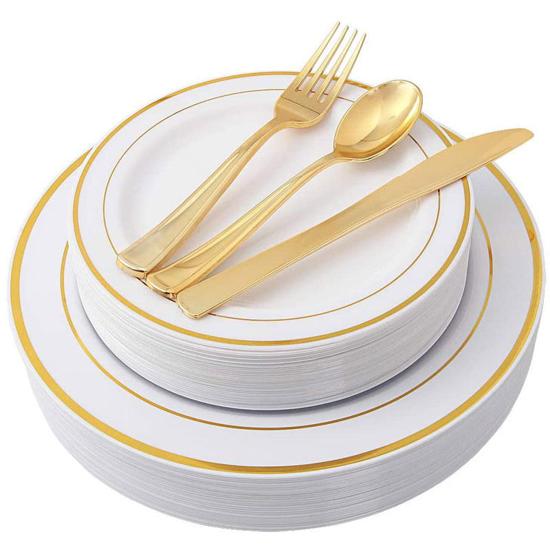 Gold plastic plates with gold silverware