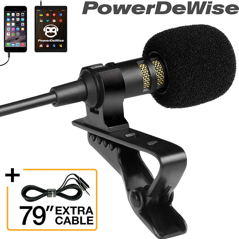 Microphone clip on with long cable