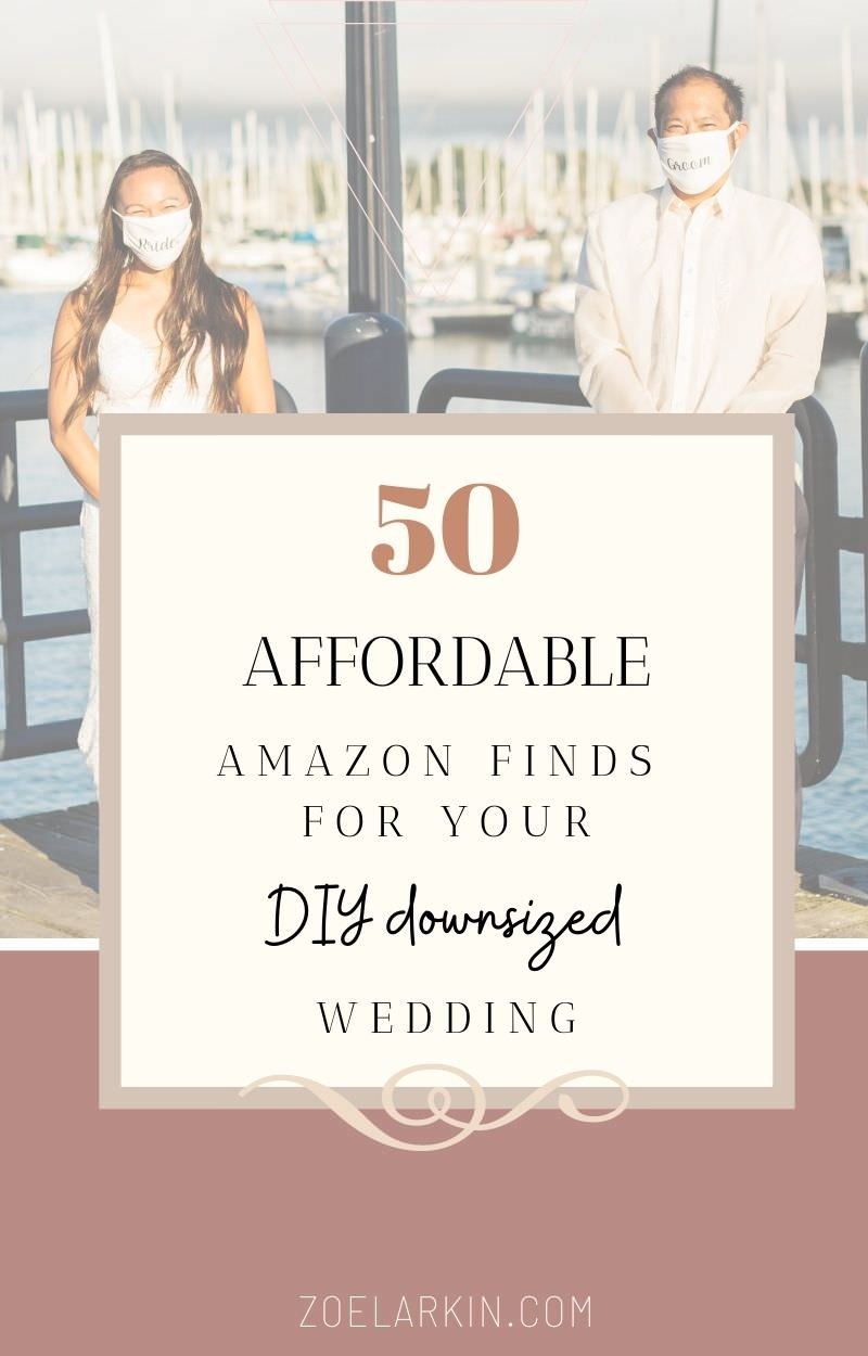 I'll take you through my 50 essential Amazon purchases that are all super affordable! Downsizing your wedding doesn't mean settling for second best. When you go DIY, you can choose to be super intentional with the items you choose for your intimate wedding, whether you want inspiration for attire, food & drink items, lighting or gadgets! DIY weddings are beautiful and practical. Now you can use Amazon for budget-friendly wedding swag! #wedding #weddingplanning | zoelarkin.com
