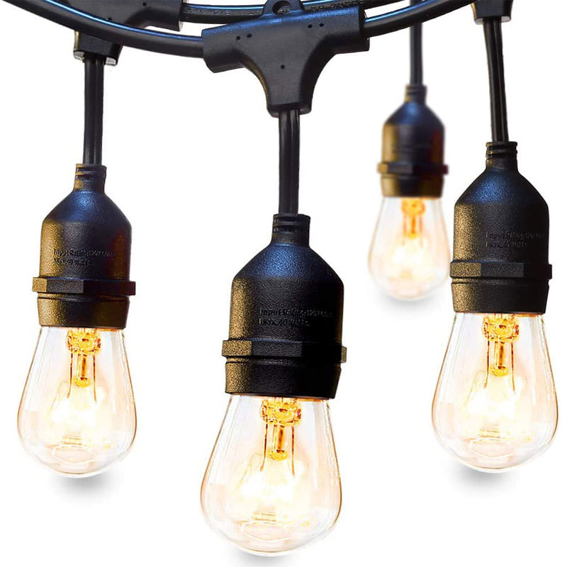 Outdoor string lights with bare bulb