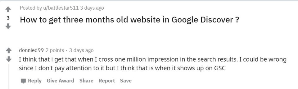 Reddit screenshot showing a user's theory that to appear on Google Discover you must have over one million impressions on Google Search