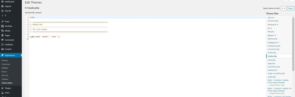 screenshot of back end of wordpress site showing nothing in the header.php file because of using x theme page builder