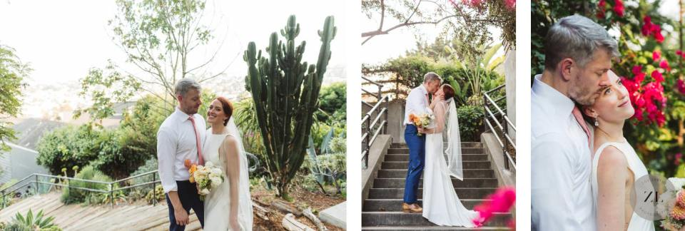 couple that got married during COVID in San Francisco celebrating with photos near their Corona Heights home