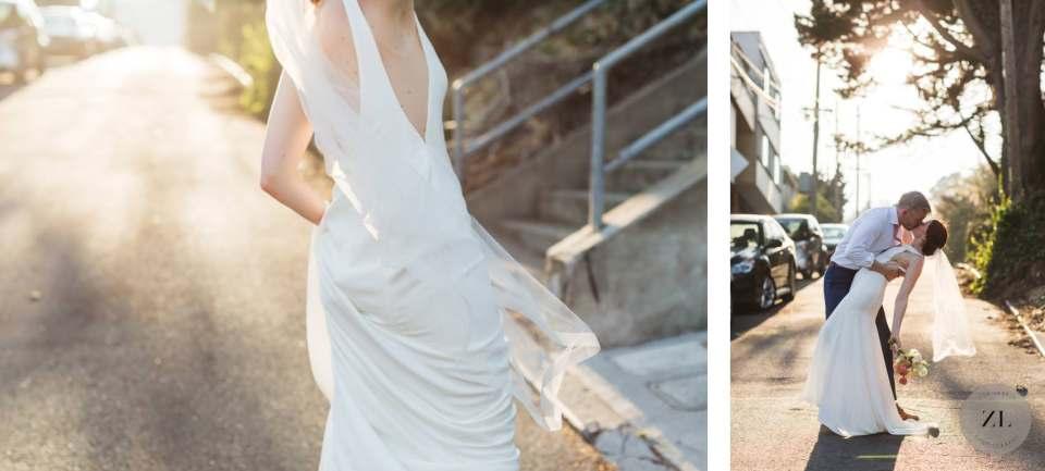wedding portraits by Zoe Larkin Photography during a COVID Bay Area wedding celebration