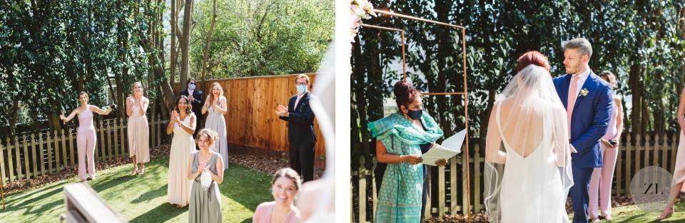 wedding ceremony held in bride and groom's backyard