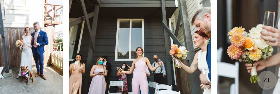 post-ceremony toast at intimate backyard wedding in Corona Heights, San Francisco during the COVID lockdown