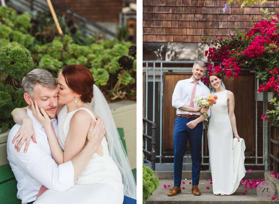 COVID wedding ideas for bay area lockdown wedding showing bride and groom couples' photo session near their San Francisco home