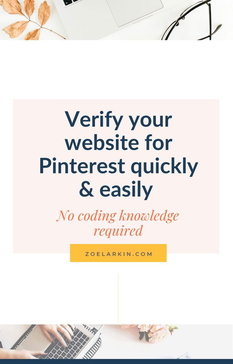 How to quickly and easily verify (claim) your website on Pinterest using simply WordPress plugins! This is the easiest way by far to verify your website when you sign up for a Pinterest business account. All you are using are free plug-ins so there's no uploading of files to your website's directory, simply paste in the meta tag code into the field in the plug-in. When you follow these instructions you will make the process of verifying your site with Pinterest easy and quick | zoelarkin.com