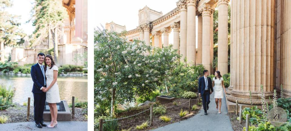 covid wedding with couple at the palace fine arts, san Francisco