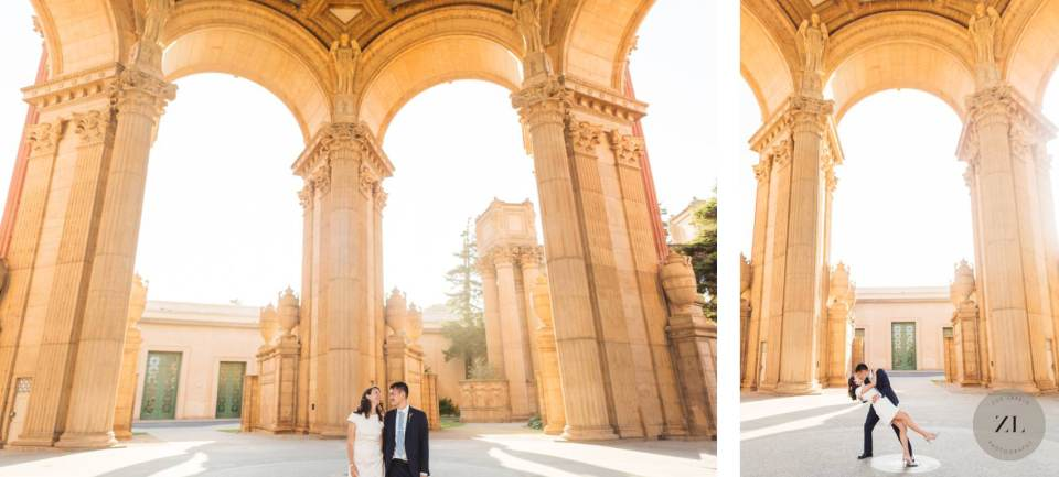 wedding couple at the palace fine arts, san Francisco by Zoe Larkin Photography