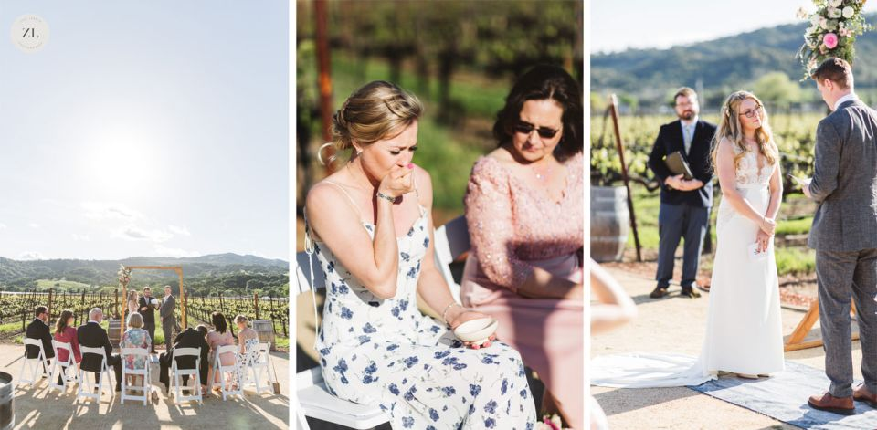 intimate wedding collage of three images showing moments during a small wedding ceremony with just 7 guests