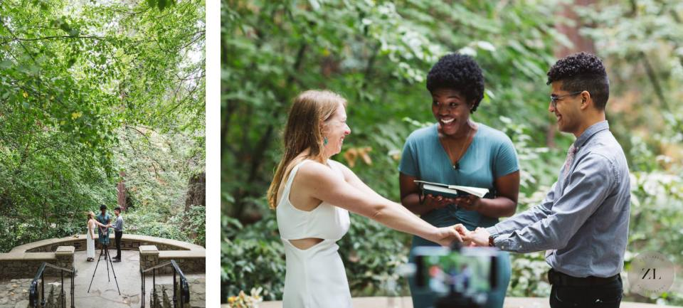 piedmont park, oakland CA wedding ceremony with fun, playful couple