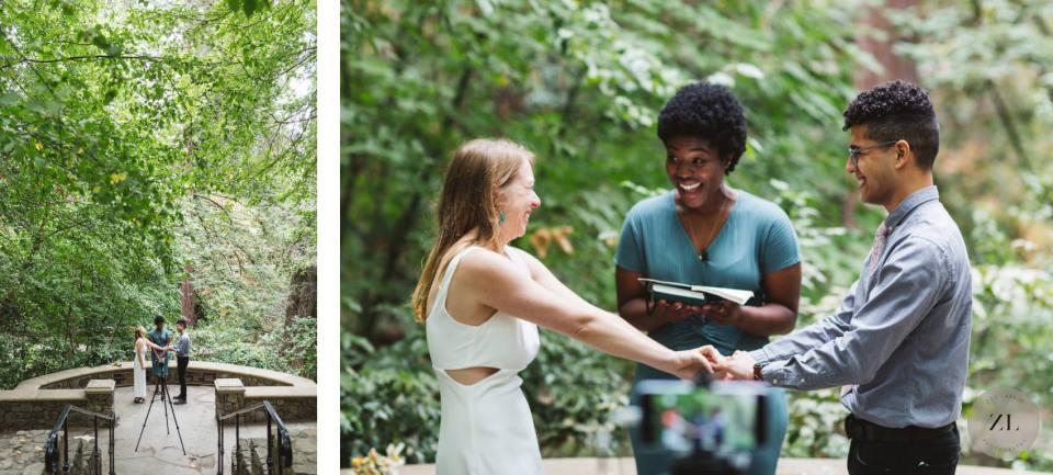 piedmont park, oakland CA wedding ceremony with fun, playful couple