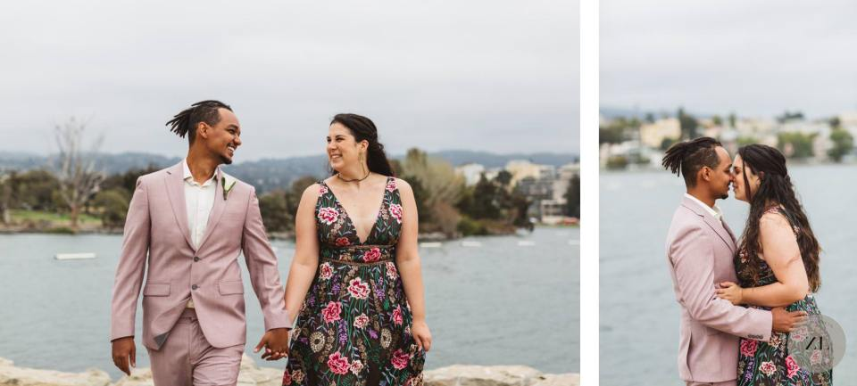 wedding photos from oakland's lake merrit with a swirl couple