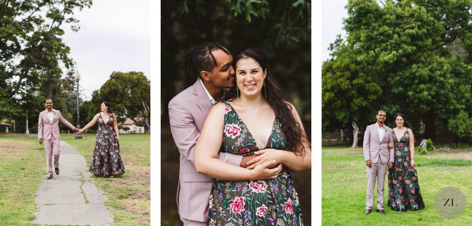 wedding photos beside lake merritt, oakland california