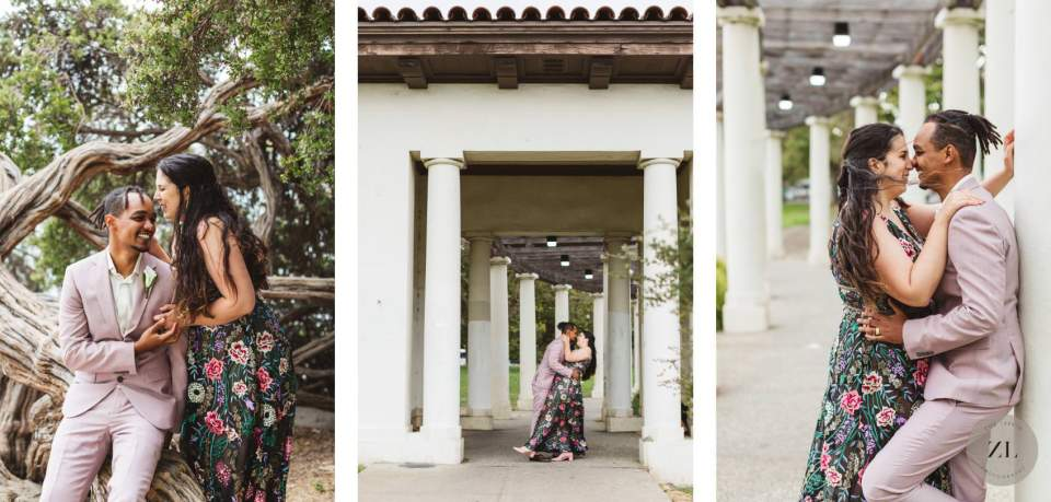 wedding photography of interracial couple at the pergola at lake merritt, oakland