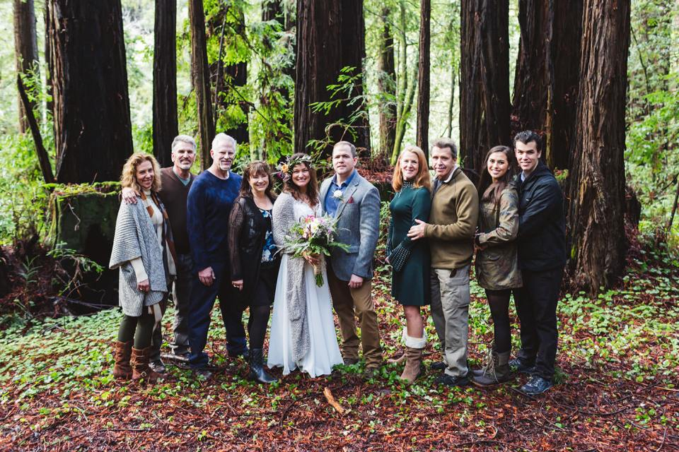 a wedding group at a small wedding in the redwoods of northern california