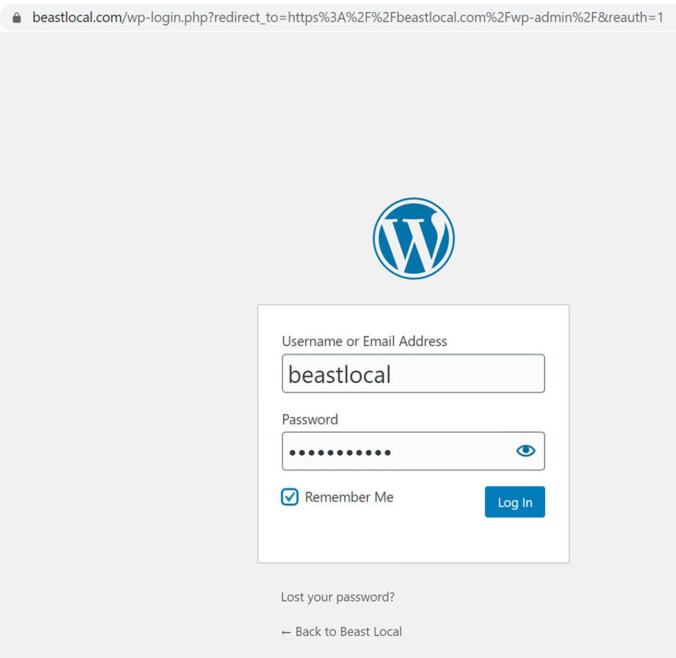login screen for first-time log into to your /wp-admin area of WordPress back end