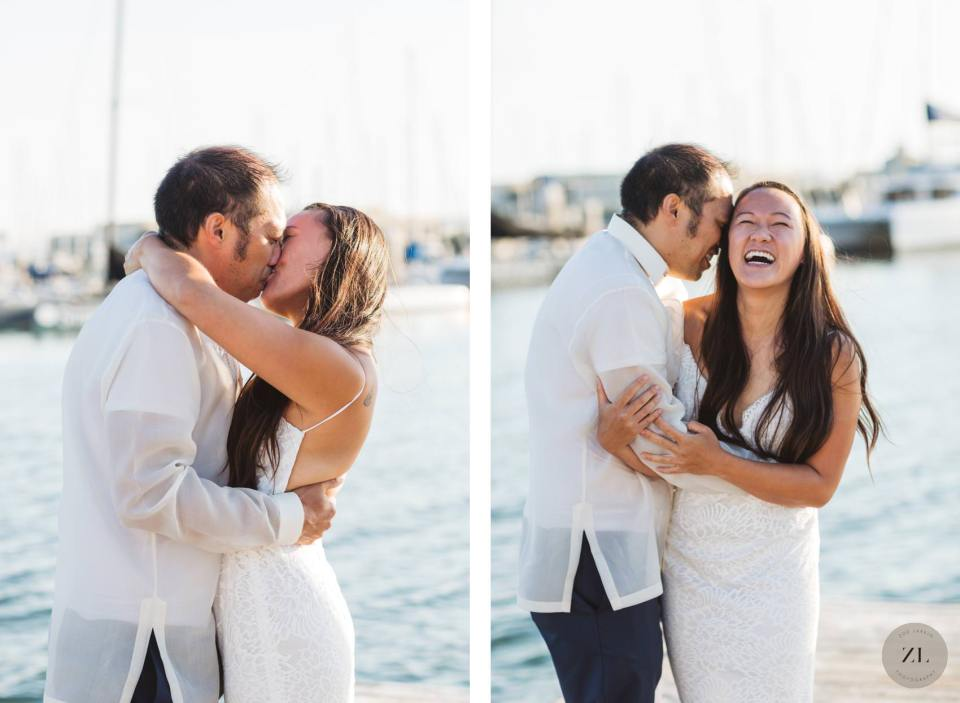 sweet and intimate wedding portraits of newlywed couple with boats at Richmond marina, CA behind them
