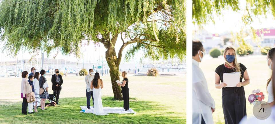 covid wedding ceremony ideas, with ceremony taking place under a willow tree