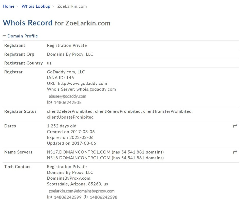 screenshot from whois record showing a private registration successfully installed which hides contact information of the site owner