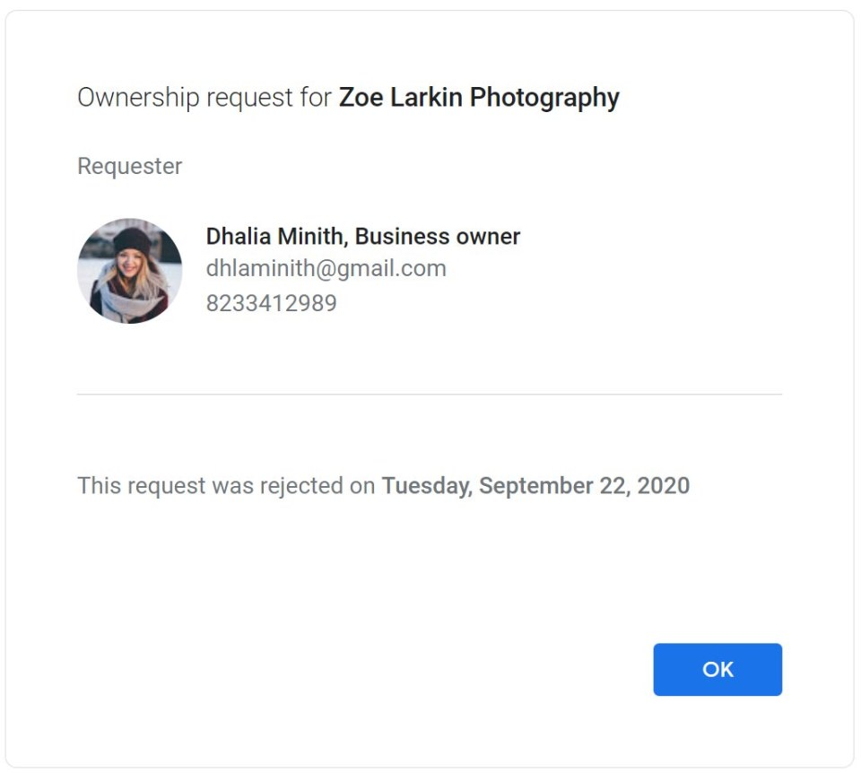 screenshot from Google My Business email showing a rejected request on Sep 22 2020