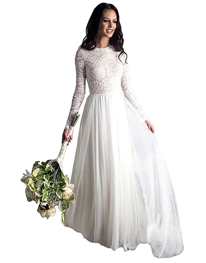 TSBridal lace bodice long sleeve dress with high round neckline