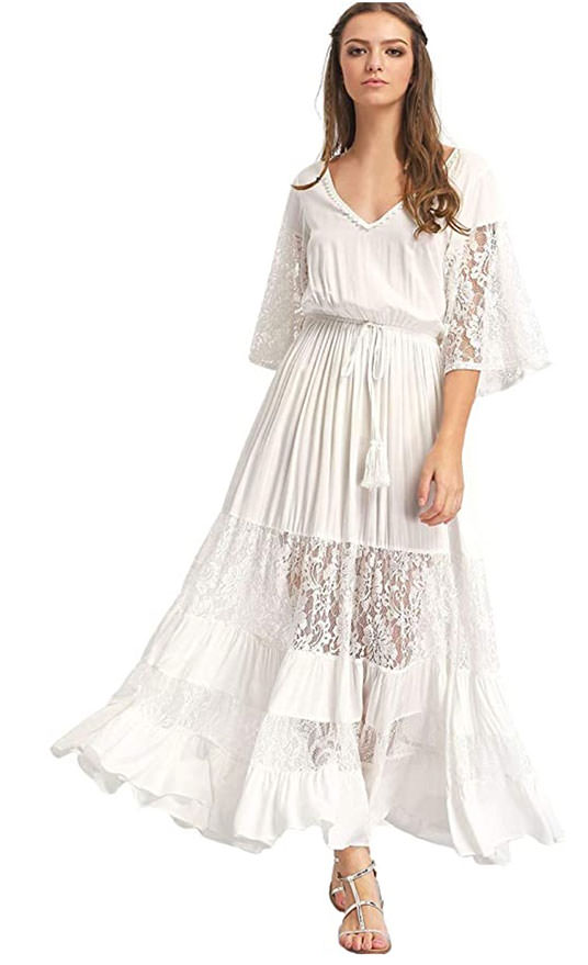 Milumia drawstring waist lace panel maxi dress - boho wedding dresses