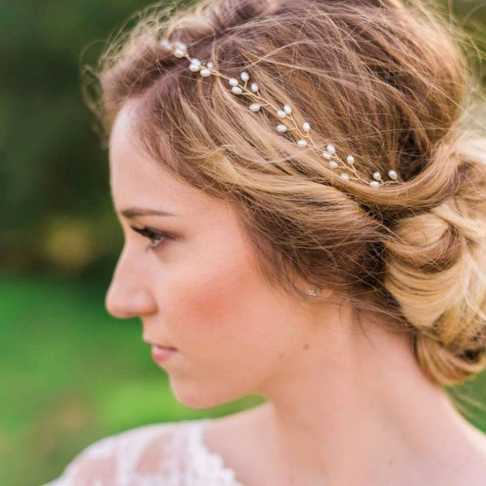 Catery Bride wedding headband with pearls - boho wedding accessories