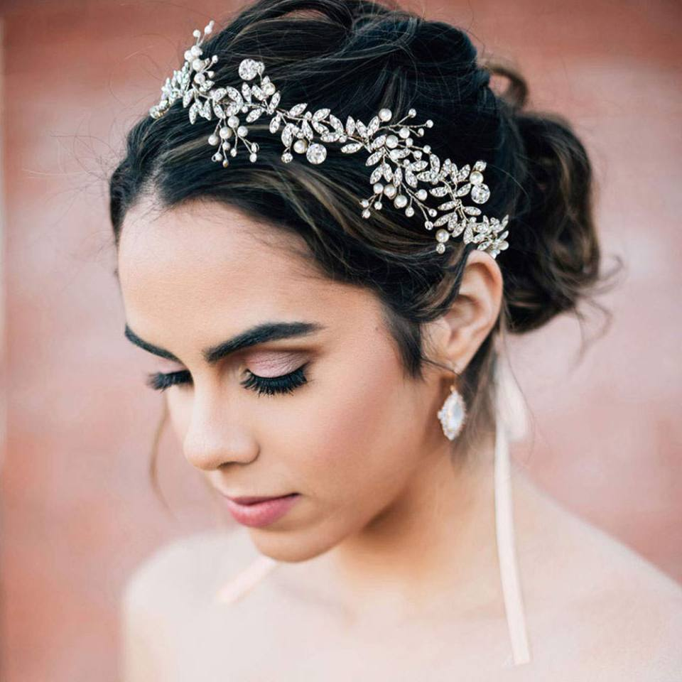 SWEETV crystal bridal silver headpiece on amazon