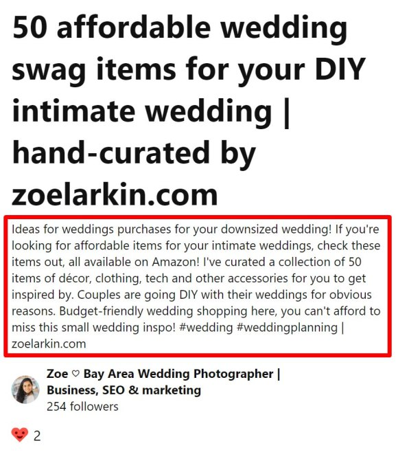 Example of how to write your pinterest pin description, incorporating keywords and information naturally and arousing users' curiosity and interest