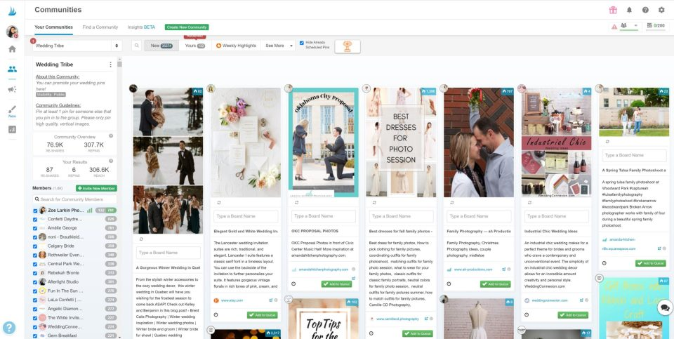 Screenshot from Tailwind Communities wedding tribe - a group of like-minded businesses that share content around the same topic, niche or industry