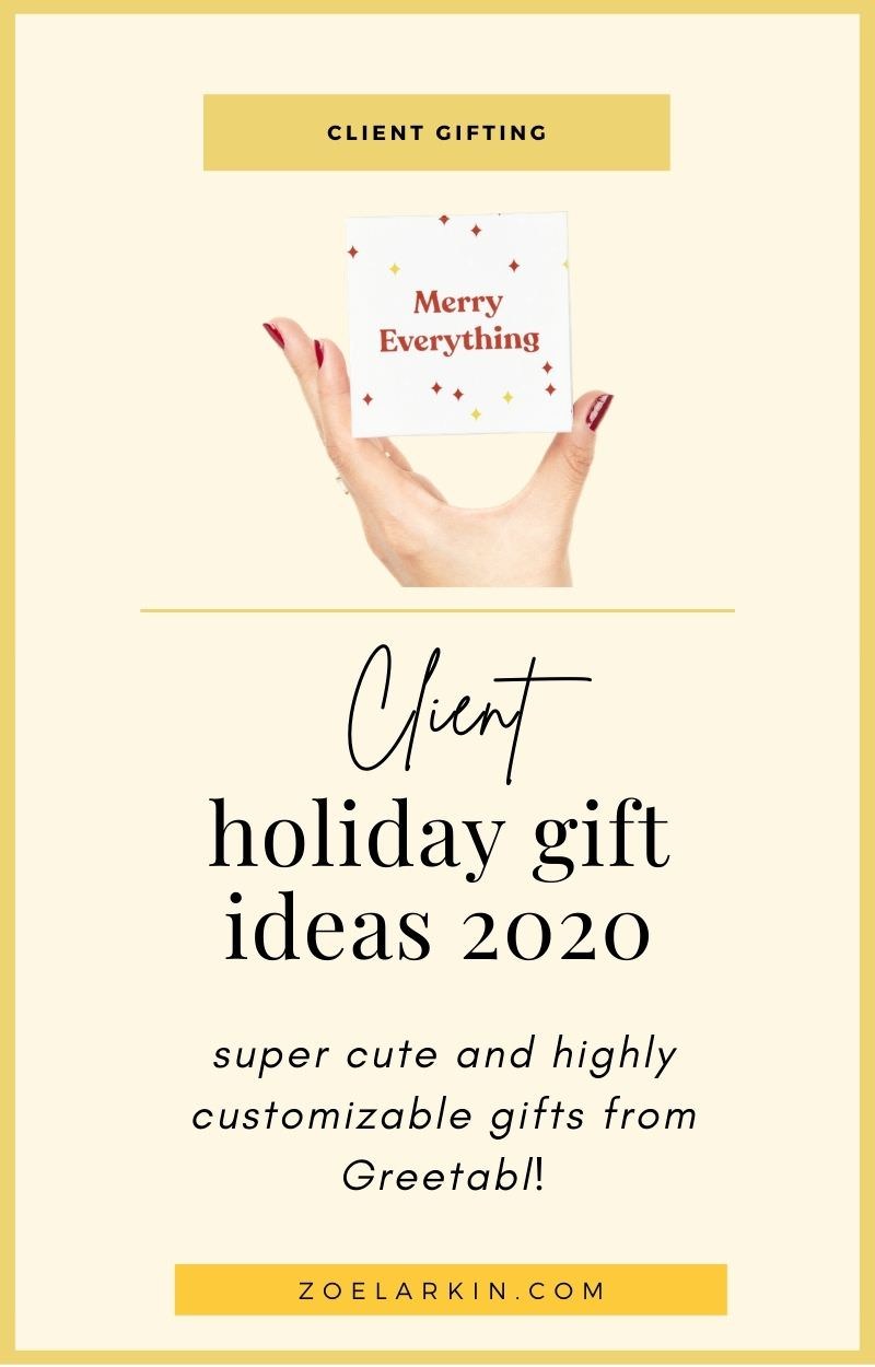 So guys, it's that time of year again when we are tasked with coming up with affordable, cute little gifts for clients. Whatever it is that you do this is a great time of year to show your appreciation for the people that make your dreams come true - your clients! If you are looking for something unique yet affordable, meaningful and personalized, Greetabl is your one-stop shop for holiday client gifts and you can get 20% off your first gift! | #clientgift #holidaygifts | zoelarkin.com