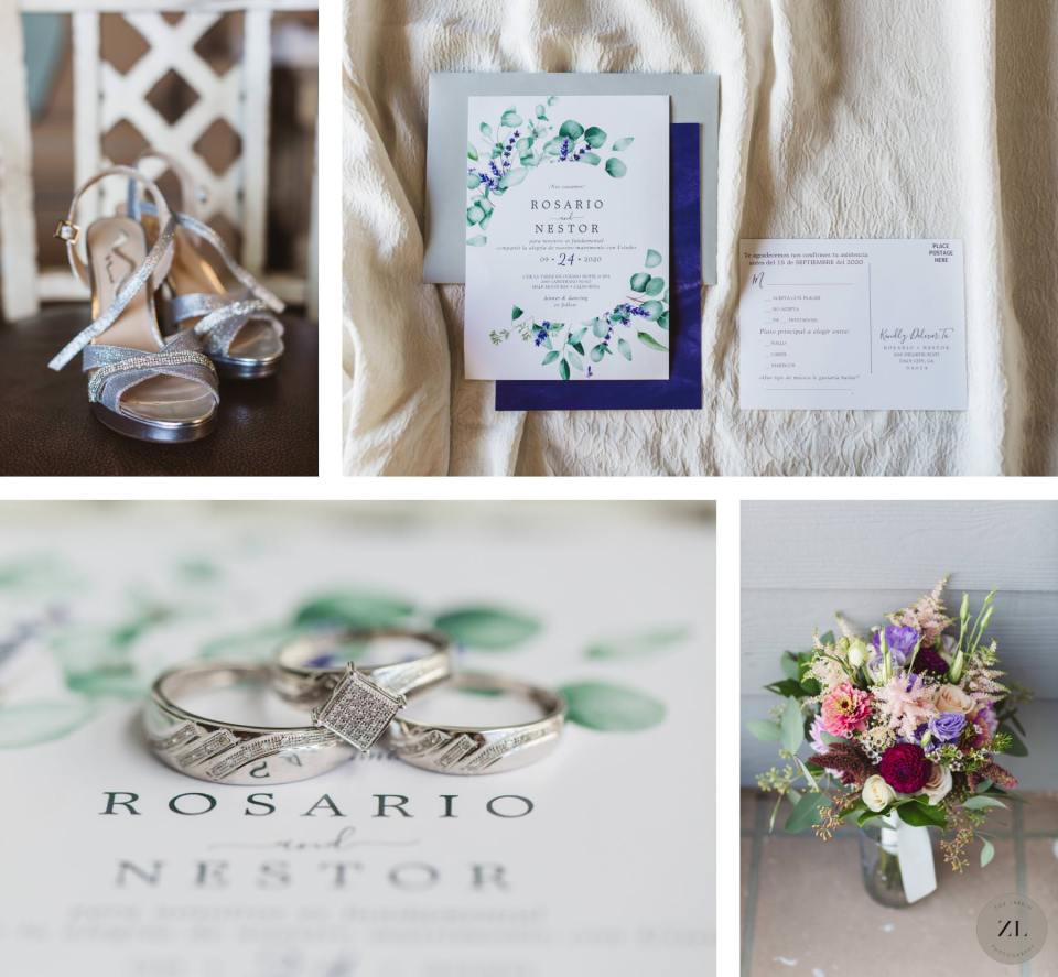 details (wedding invitation, shoes and florals) at Half Moon bay wedding in the Bay Area