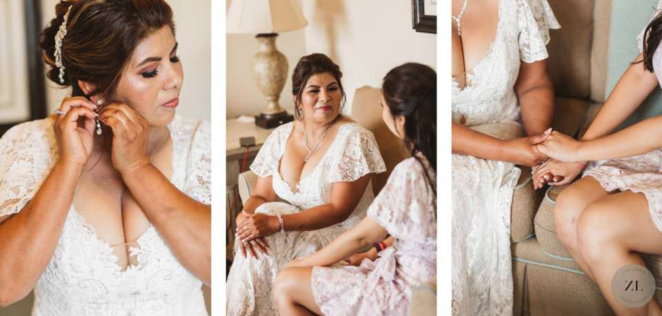 Latino bride with her grown-up daughter before her wedding at the Oceano Hotel and Spa
