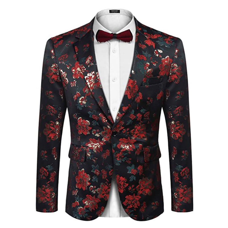 ideas for what to wear for engagement photography session for men - COOFANDY Men's Floral Blazer