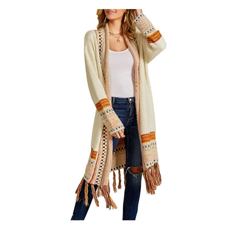 outfit for engagement photos - Ferbia Boho Cardigan Sweater with open front tassels