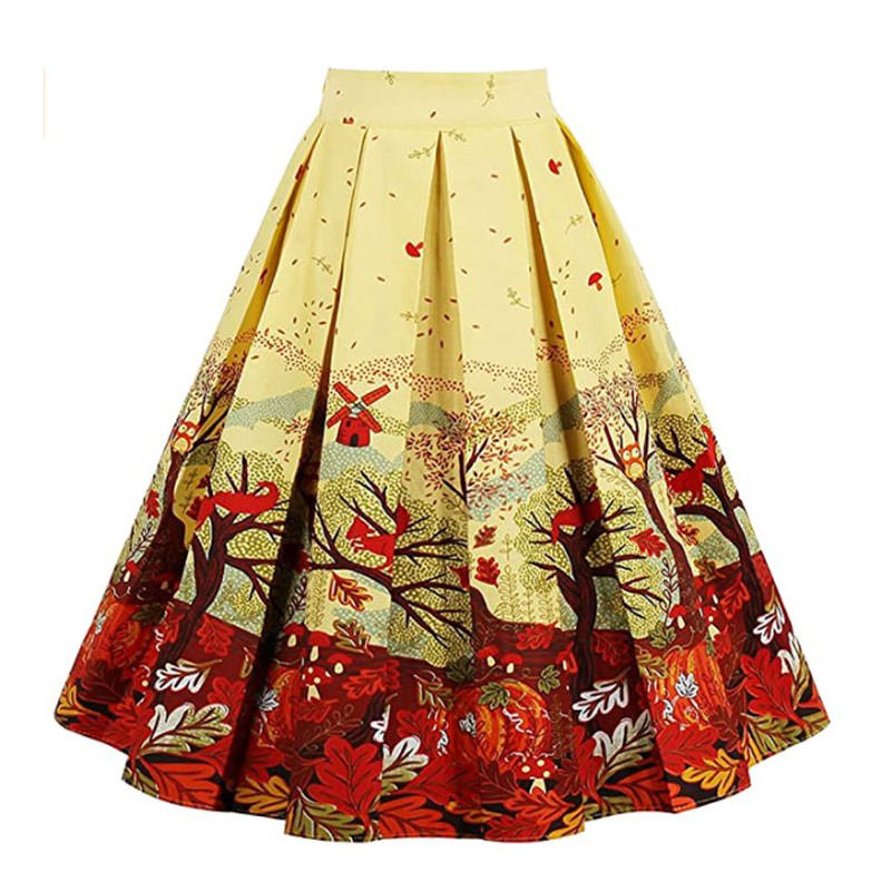Girstunm Women's Pleated Vintage Skirt Floral for what to wear for engagement shoot