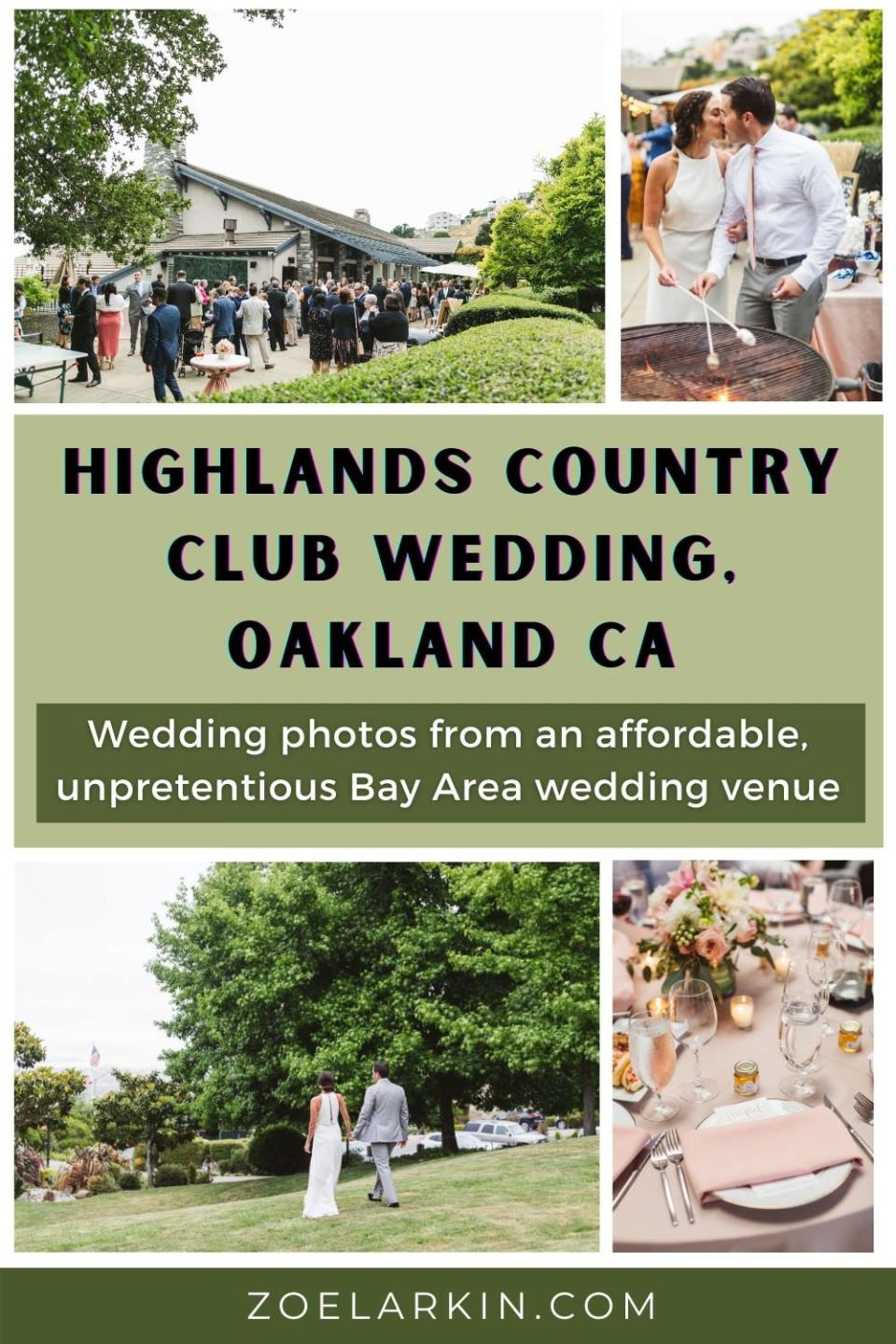 Looking for an affordable Bay Area CA wedding venue? The Highlands Country Club nestled in the Oakland Hills, East Bay & overlooking the Bay has it all! Set among stunning grounds and rolling hills, with a cozy fireside room, large windows & ample outdoor space (capacity of 100!) + a low price tag, this Highlands Country Club wedding couple will show YOU how to party in style amid beautiful, natural + iconic Bay Area surroundings! #bayareawedding #bayareaweddingvenue #weddings | zoelarkin.com