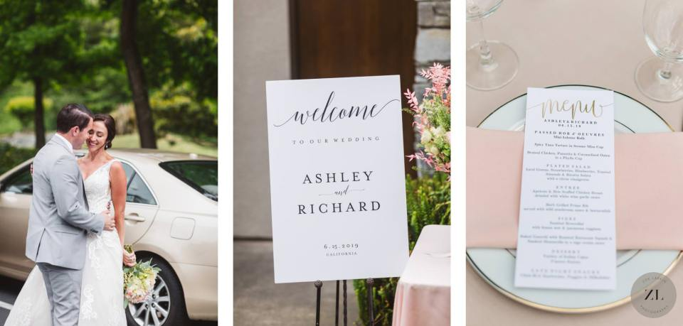 beautiful wedding details from a wedding at Highlands Country Club Oakland CA - welcome placard and menu