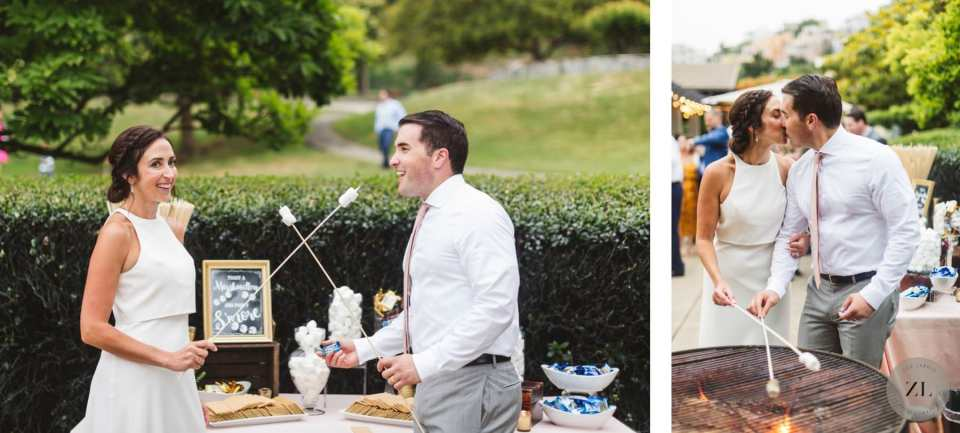 smores at wedding being enjoyed by a happy bride and groom on their wedding day
