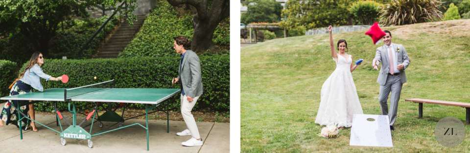 ping pong table and cornhole game at wedding in the Oakland Hills CA by Bay area wedding photography Zoe Larkin