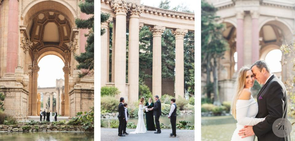 a covid wedding taking place at the Palace of Fine Arts in San Francisco with just 4 guests photo by Zoe LArkin photography
