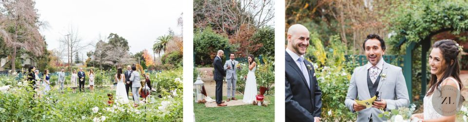 wide shots of a socially distanced ceremony at Gamble Garden wedding in Palo Alto
