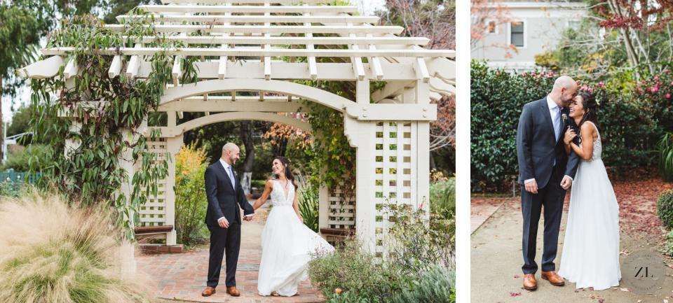 mexican couple's wedding day photos at the stunning gamble garden, old town palo alto